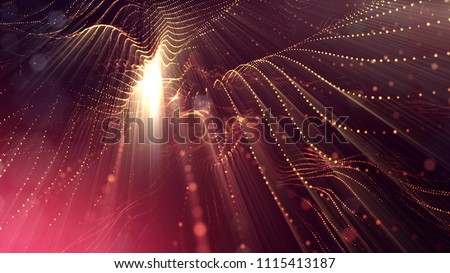 Photo of  3d rendering, science fiction background of glowing particles with depth of field and bokeh. Particles form line and surface grid. microcosm or space. Red gold v55