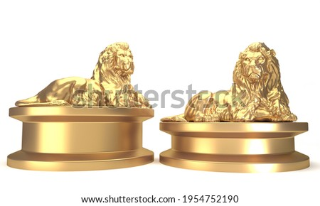 3d rendering Sculpture gold lion on white background Foto stock ©