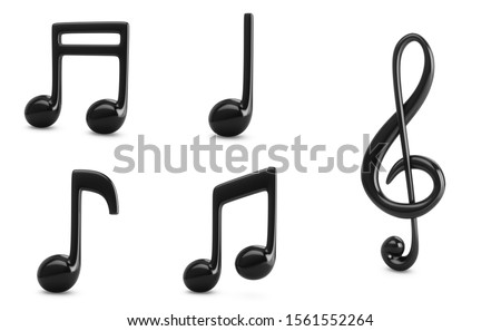 3d Rendering Set Black Music Notes isolated on white background Foto stock ©