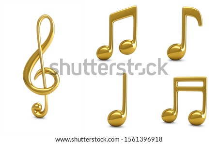 3d Rendering Set Golden Music Notes isolated on white background