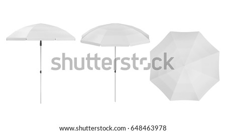 3D rendering Set of beach umbrella mock up on white background