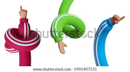 3d rendering, set of funny cartoon character tangled and spiral hands in colorful sleeves, clip art isolated on white background. Assorted gestures