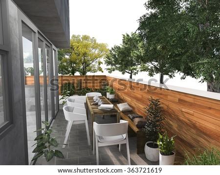 3d rendering sitting terrace near nature  #363721619