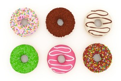 3D rendering six bundles of donuts flavor on white background.