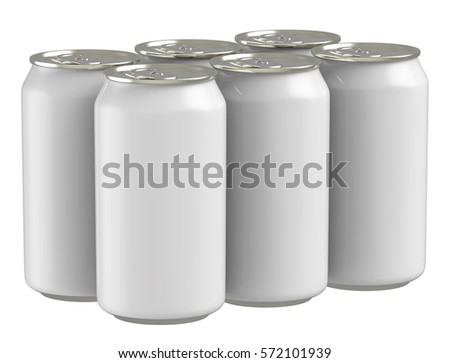 3D rendering six pack blank beverage cans on white background