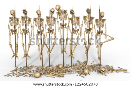 3d rendering skeleton group impale isolated Сток-фото ©
