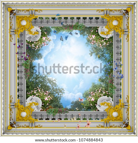 3D rendering sky ceiling architecture