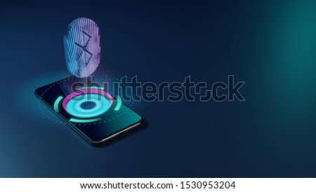 3D rendering smartphone with display emitting neon violet pink blue holographic inverted symbol of Bluetooth in oval icon on dark background with blurred reflection Сток-фото ©