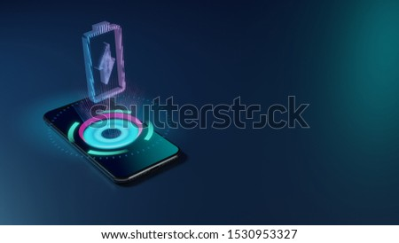 3D rendering smartphone with display emitting neon violet pink blue holographic vertical vertical symbol of charging empty battery with flash icon on dark background with blurred reflection