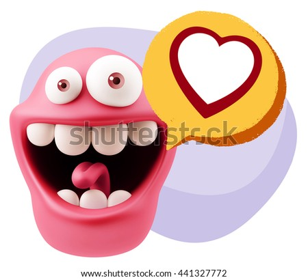 3d Rendering Smile Character Emoticon Expressing Love with a Heart Shape in a Colorful Speech Bubble #441327772