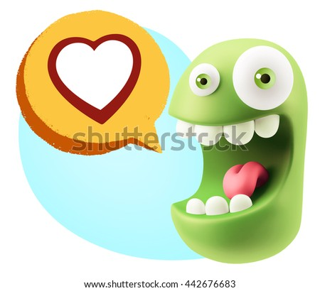 3d Rendering Smile Character Emoticon Expressing Love with a Heart Shape in a Colorful Speech Bubble #442676683