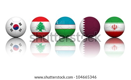 3D Rendering Soccer balls with flag pattern, Asian Soccer Qualifiers Group A