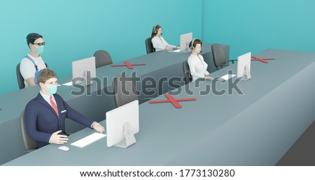 3D rendering, Social distancing in office re-open, Employees sitting and working spaced after Covid-19 So employees can use it safely , 3D illustration