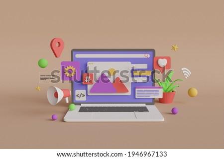 3D Rendering - Software Development Illustration - Premium Imaga Foto stock ©