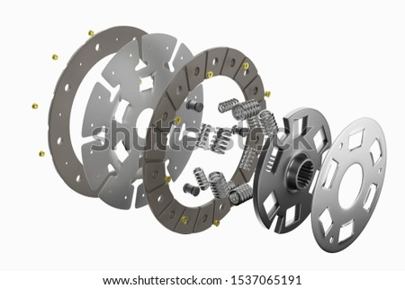 3d rendering. Spare parts for car and truck clutch disk. Auto parts for transmission. Separate image of all in clutch disk objects.
