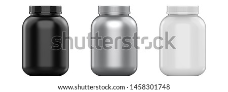 3d rendering sport nutrition containers set without label. Whey protein and mass gainer white, silver, black plastic jar isolated on white background