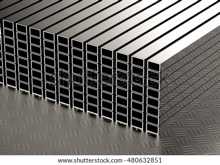 3d rendering stack of square pipes Stock fotó ©
