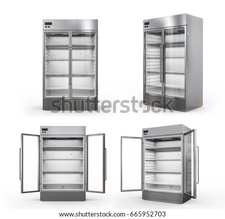 3d rendering stainless steel commercial fridge with transparent glass doors