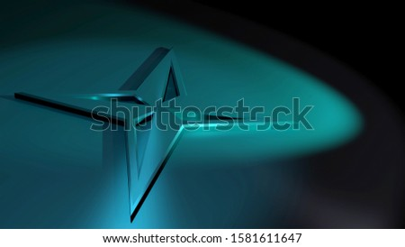 3D rendering. Star-shaped navigation symbol on a metallic surface. One compass icon illuminated by blue spotlights. Symbolism for directions and choices. 16:9. Dark background image.
