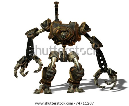 3D Rendering Steampunk robot from the future