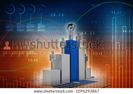 3d rendering Stock market online business concept. business Graph successful with graduate business man