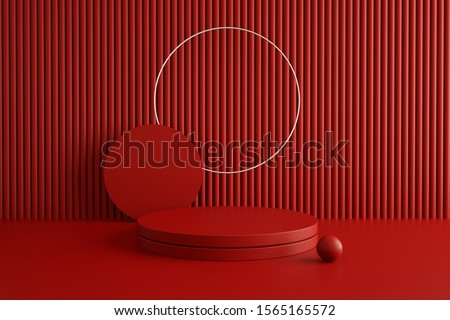 3d rendering studio with geometric shapes, podium on the floor. Platforms for product presentation, mock up background. Abstract composition in minimal design. stock photo
