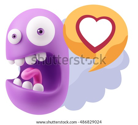 3d Rendering Surprise Character Face Emoticon saying Heart Shape with Colorful Speech Bubble. #486829024