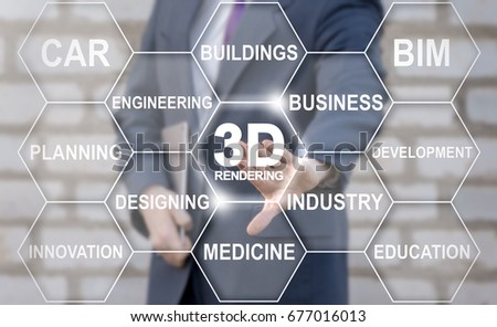 3D Rendering Tag Cloud Designing Business Industry Health Care Buildings Engineering concept. Man presses 3d rendering text button on virtual touch screen. #677016013