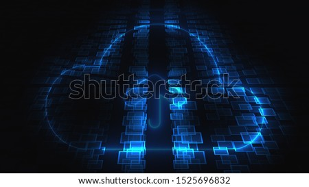 3d rendering technology and internet animation icons. Computer generation neon SEO icon on blurry background.