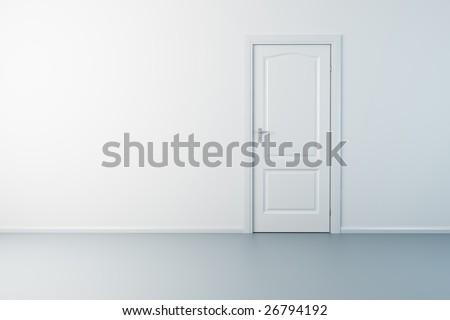 3d rendering the empty room with door