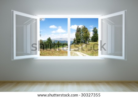 3d rendering the empty room with open window - stock photo