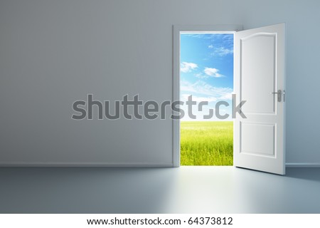 3d rendering the empty room with opened door