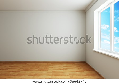 3d rendering the empty room with window