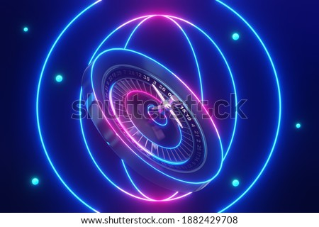 3d rendering the roulette wheel flying over neon background. Photo stock ©
