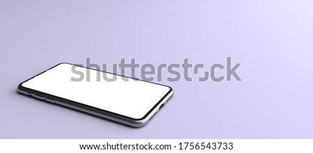 3D rendering. The Smartphone white screen on violet floor, Mobile phone lay down on the ground. Smartphone white screen can be used for commercial advertising, Isolated on violet background. Foto stock ©