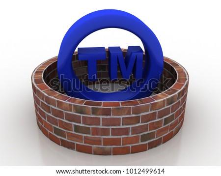 3d rendering tm trade mark sign concept