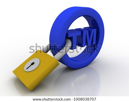 3d rendering tm trade mark sign security concept