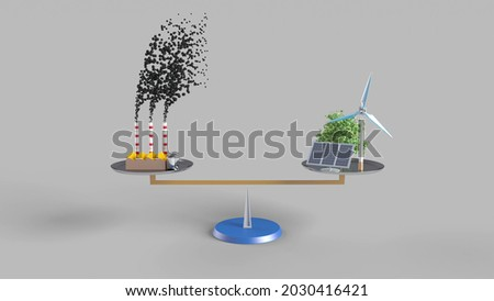 3d rendering to illustrate carbon neutrality. Carbon dioxide emitted from fossil fuels is neutralized with renewable energy. Foto stock ©