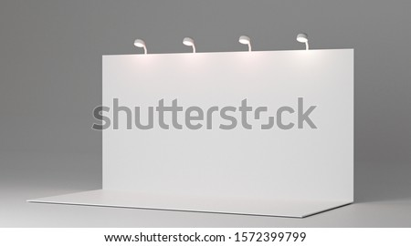 3D rendering Trade exhibition stand, Exhibition Stand round. Advertising space on a white back ground, visualization of exhibition equipment, a set of stands with space for text ads.