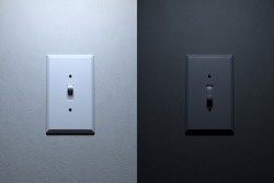 3D Rendering turn on and turn off side by side Light Switch on white concrete wall