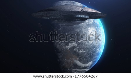 3d rendering- UFO Alien Saucer Hovering over Planet earth,  Metallic Rotating flying saucer space ship Hovering over Planet earth, Invasion Concept- 3D rendering