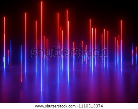 3d rendering, ultraviolet spectrum, neon lights, laser show, night club, vertical glowing lines, equalizer, abstract fluorescent background, optical illusion, virtual reality