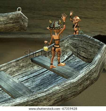 3d rendering Vikings couple at the beach  as  illustration