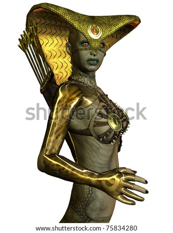 3D rendering Waist female snake beings