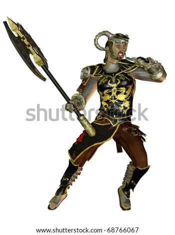 3D rendering warrior in armor and battle ax