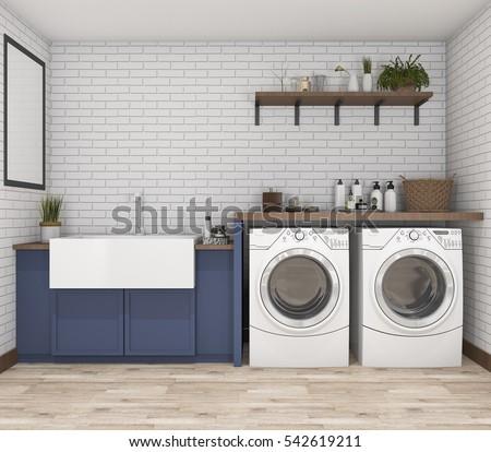 3d rendering washing machine in ...