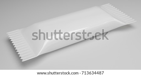 3d rendering White Blank Chocolate Bar snack bag isolated on white background. Packaging template mockup.