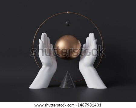 3d rendering, white decorative female mannequin hands isolated on black background, holding gold ball, body parts, luxury fashion concept, esoteric fortuneteller, sacred geometry, clean minimal design