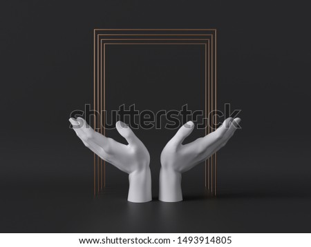 3d rendering, white female mannequin hands isolated on black background, gold square frame, body parts, fashion concept, religious prayer gesture, sacred ritual, clean minimal design, blank space