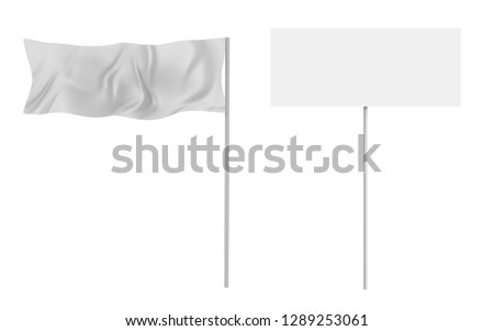 3d rendering white flag and banner isolated on white #1289253061